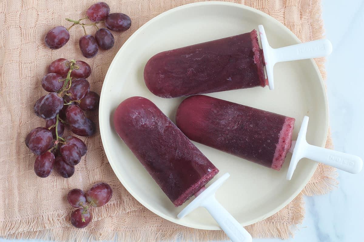 grape pops on white plate